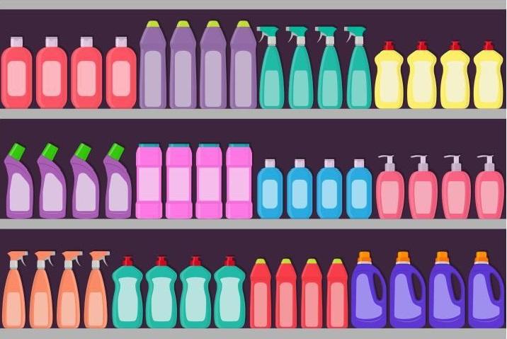 Grafik eines Regals voller Reinigungsmittel inklusive der Top-Produkte von Multiclean.